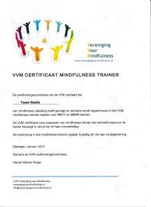 Certificaat Vereniging voor Mindfulness Twan Roefs